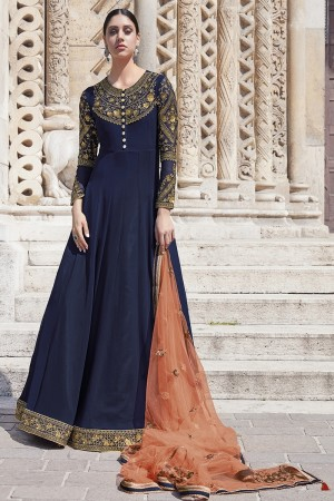 Navy Blue Georgette Semi  Stitch Salwar Kameez