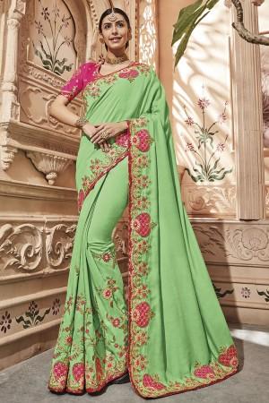 Pista Green Silk Saree with Blouse