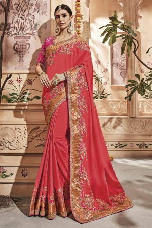 Coral Pink Silk Saree with Blouse