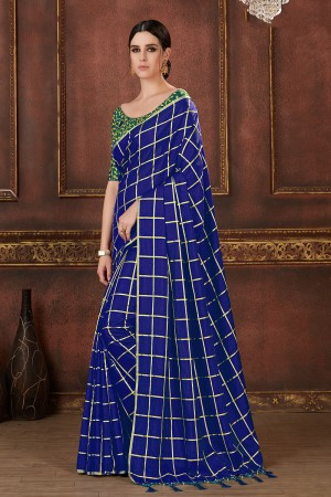 Navy Blue Two Tone Silk Saree with Blouse