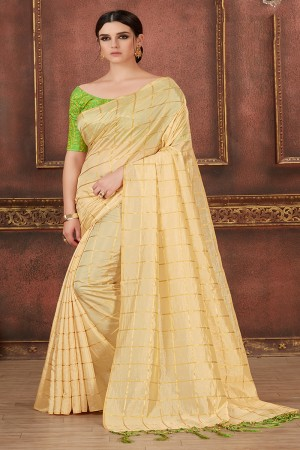 Cream Two Tone Silk Saree with Blouse
