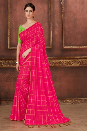 Magenta Two Tone Silk Saree with Blouse