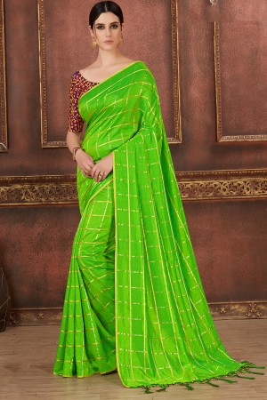 Parrot Green Two Tone Silk Saree with Blouse
