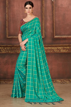 Teal Green Two Tone Silk Saree with Blouse