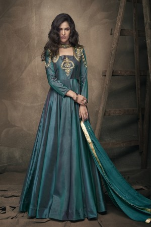 Turquice Green Soft Taffeta Silk Full Stitch Salwar Suit