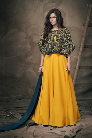 Yellow Georgette & Soft Taffeta Silk Full Stitch Salwar Suit