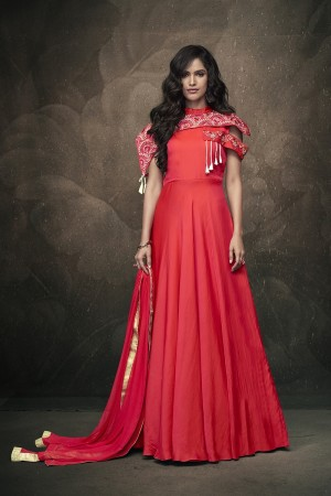 Red Soft Taffeta Silk Full Stitch Salwar Suit