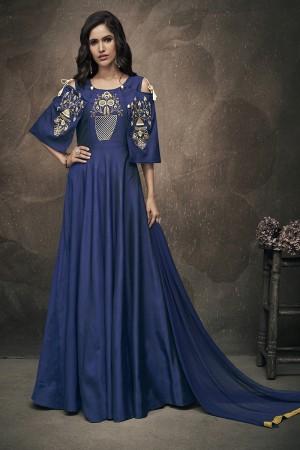 Navy Blue Soft Taffeta Silk Full Stitch Salwar Suit