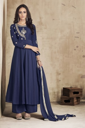 Navy Blue Maslin Full Stitch Salwar Suit