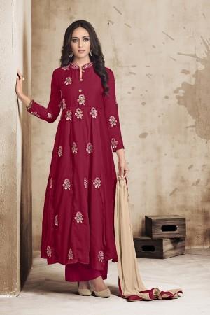 Dark Red Maslin Full Stitch Salwar Suit