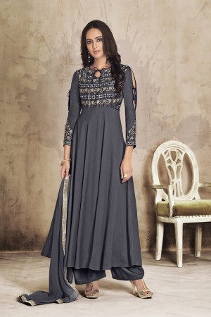 Grey Maslin Full Stitch Salwar Suit