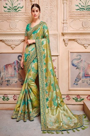 Multi Color Silk Saree with Blouse