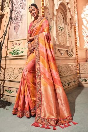 Multi Color Silk Saree with Blouse