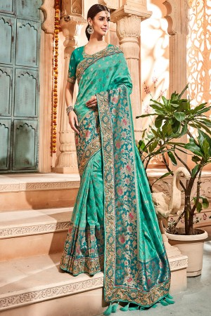 Mint Green Silk Saree with Blouse