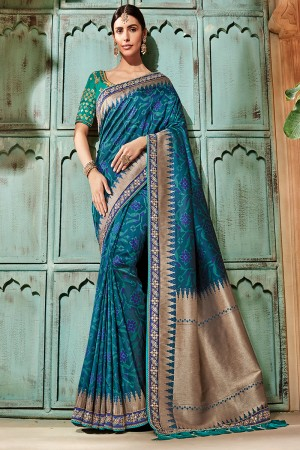 Marin Blue Silk Saree with Blouse
