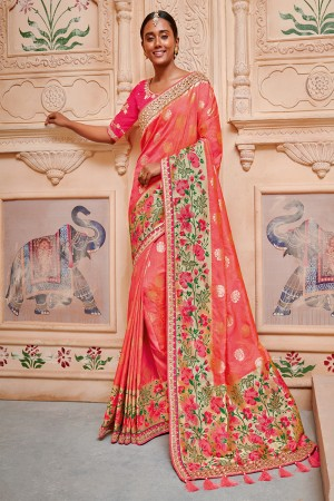 Coral Red Silk Saree with Blouse