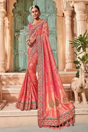 Peach Silk Saree with Blouse