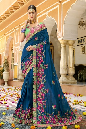 Blue Silk Saree with Blouse