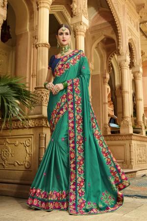Rama Green Silk Saree with Blouse