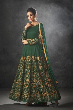 Green Raw Silk Semi Stitch Salwar Kameez
