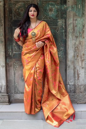 Golden  Kanjivaram Silk Saree with Blouse