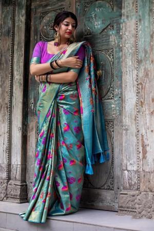 Skyblue Kanjivaram Silk Saree with Blouse