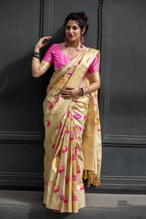 Cream Kanjivaram Silk Saree with Blouse