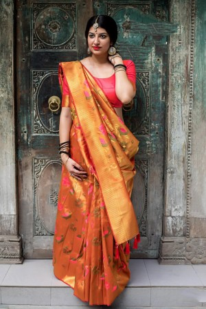 Orange Kanjivaram Silk Saree with Blouse