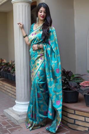 Firozi Midhusa Silk Saree with Blouse