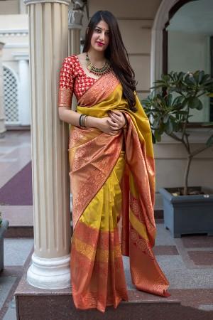 Yellow & Red Midhusa Silk Saree with Blouse