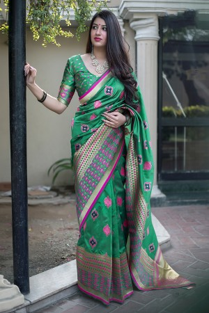 Green Midhusa Silk Saree with Blouse
