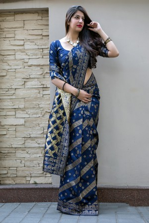 Blue Midhusa Silk Saree with Blouse