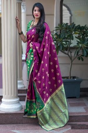 Purple Midhusa Silk Saree with Blouse