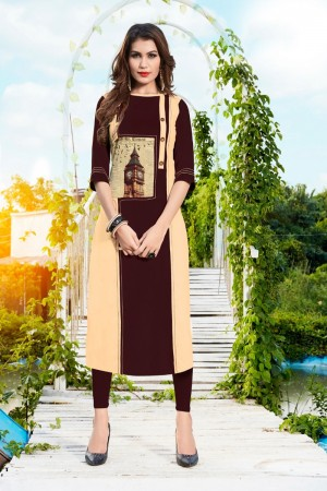 Coffee Rayon with Digital Print Kurti