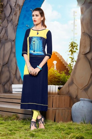 Blue Rayon with Digital Print Kurti