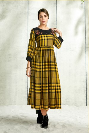 Yellow Handloom Slub Cotton Kurti