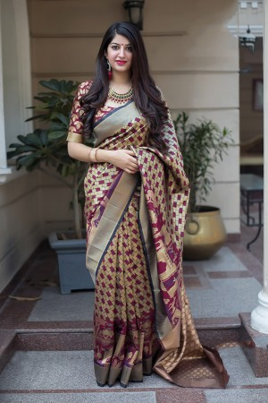 Wine& Cream Banarasi Silk Saree with Blouse