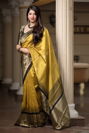 Yellow Banarasi Silk Saree with Blouse
