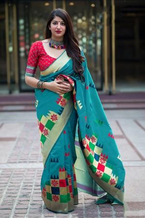 Skyblue Banarasi Silk Saree with Blouse
