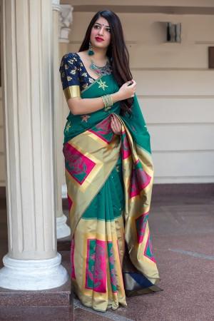 Pine Banarasi Silk Saree with Blouse