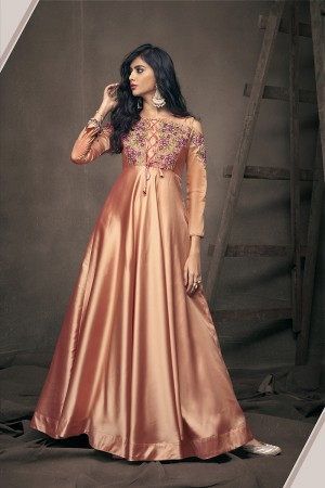 Orange Satin Silk Readymade Gown
