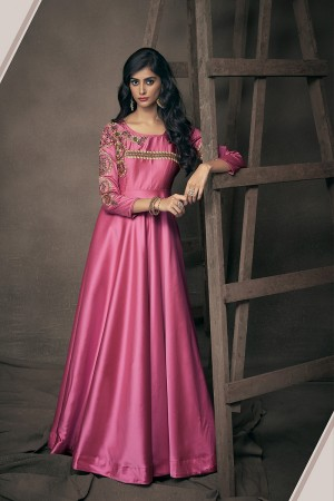 Pink Satin Silk Readymade Gown