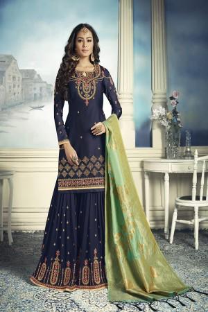 Blue Satin Georgette Semi Stitch Salwar Kameez