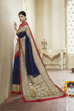 Blue Cotton Saree with Blouse