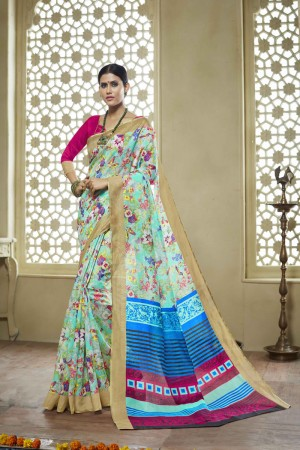MultiColor Cotton Saree with Blouse