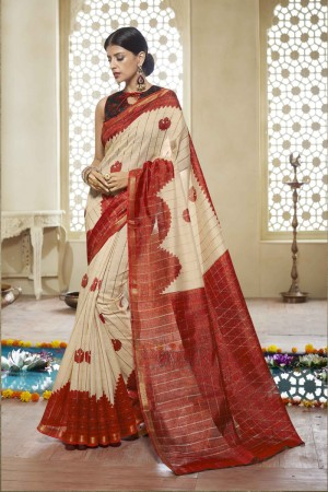 OffWhite Cotton Saree with Blouse