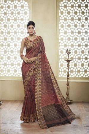 Light Brown Cotton Saree with Blouse