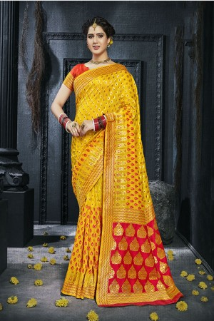 Yellow Pure Silk Saree with Blouse