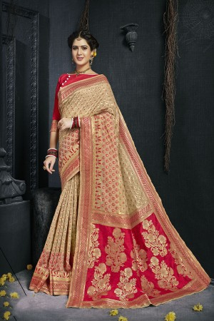 Beige Pure Silk Saree with Blouse