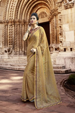 Chiku Brasso Saree with Blouse